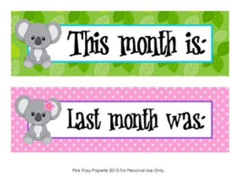 Koala Monthly Calendar Headers