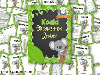 Koala Student Organization and Parent Communication Binder {personalize it}