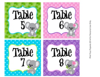 Koala Table Numbers