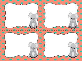 Koala Teal and Orange Supply cards