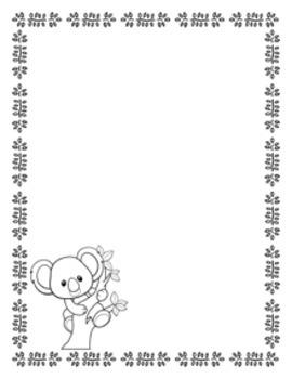 Koala Writing Paper - Black and White - 3 Styles