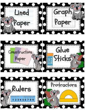 Koala theme Classroom Supply Labels