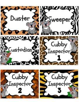 KoalaJungle / Safari Theme Classroom Supplies Labels
