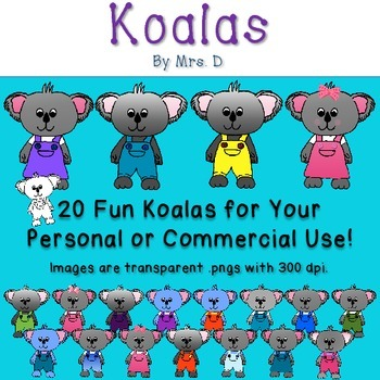Koalas Clip Art - Commercial Okay