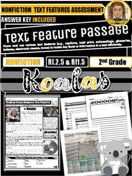 Koalas Nonfiction Assessment | Text Features Assessment