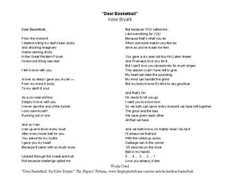 """Kobe Bryant's """"Dear Basketball"""" TPS-FASST Poetry Analysis"""