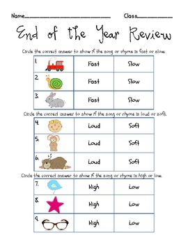 End of Year Quiz {Fast/Slow, Loud/Soft, High/Low}