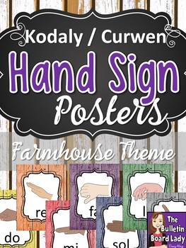 Kodaly Curwen Hand Sign Posters - Farmhouse Theme