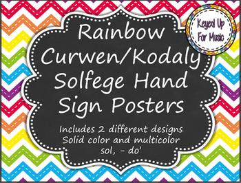 Kodaly/Curwen Hand Sign Posters - Rainbow Chevron Chalkboard Design