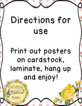 Kodaly Solfege Hand Signs Posters (Shabby Chic/Floral Design)