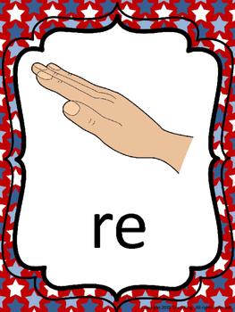 Kodaly/Curwen Hand Signs - Red White and Blue