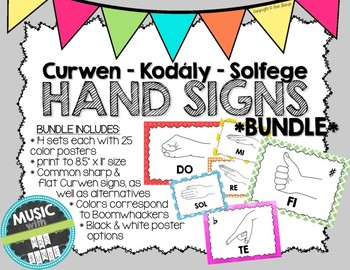 Kodaly / Curwen / Solfege Hand Sign Posters BUNDLE (Boomwhacker Colors)