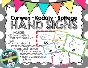 Kodaly / Curwen / Solfege Hand Sign Posters (Dots Big, Boomwhacker Colors)