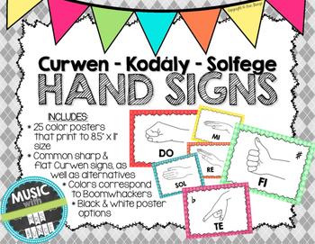 Kodaly / Curwen / Solfege Hand Sign Posters (Argyle, Boomwhacker Colors)
