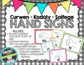 Kodaly / Curwen / Solfege Hand Sign Posters (Gingham, Boomwhacker Colors)
