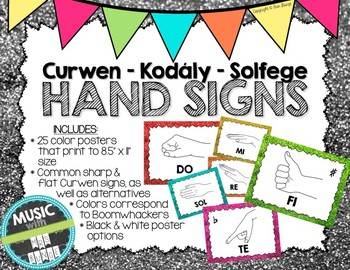 Kodaly / Curwen / Solfege Hand Sign Posters (Glitter, Boom