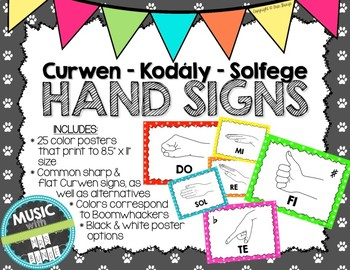 Kodaly / Curwen / Solfege Hand Sign Posters (Paw Prints, Boomwhacker Colors)