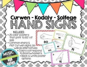 Kodaly / Curwen / Solfege Hand Sign Posters (Quatrefoil, Boomwhacker Colors)