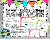 Kodaly / Curwen / Solfege Hand Sign Posters (Watercolor, Boomwhacker Colors)