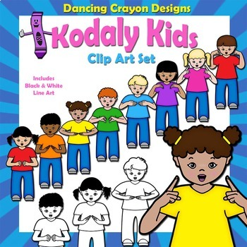 Clip Art Kids Showing Curwen / Kodaly Hand Signs