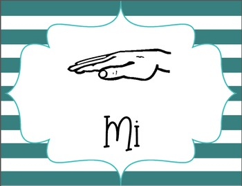 Kodaly Solfege Hand Sign Posters - Teal & Purple Stripes