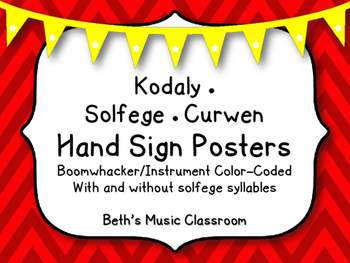 Kodaly Solfege Posters (Curwen Hand Signs) - Boomwhacker Color-coded