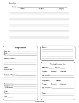 Kodály Song Analysis Sheet