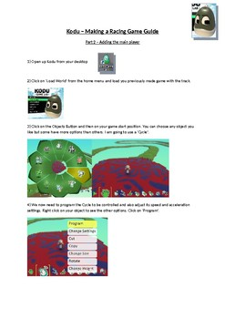 Kodu - Race Track Tutorial Help Sheets & Assessment Criteria