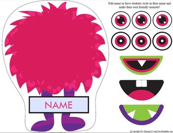 Friendly Monsters printable activities door theme decor