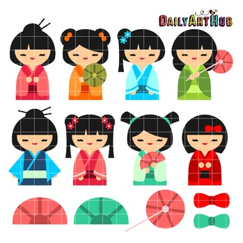 Kokeshi Japanese Dolls Clip Art - Great for Art Class Projects!