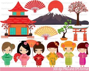 Kokeshi Japanese Dolls school Clip Art asian fans mount Fuji Kimono Kawaii -089-