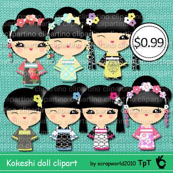 Kokeshi doll clipart #3 japanese girl,commercial use-Bundle