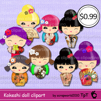 Kokeshi doll clipart,japanese doll,girl-clipart#2-Bundle