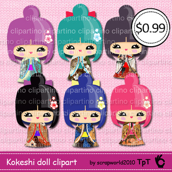 Kokeshi doll,kawaii doll,japanese girl clipart,commercial use -Bundle