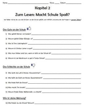Komm Mit! German Level 2 Chapter 2 Zum Lesen worksheet