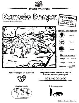 Komodo Dragon 10 Resources Coloring Pages Reading Activities