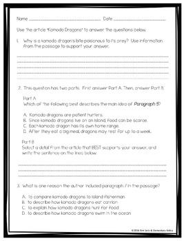 Komodo Dragons Reading Language/Editing Practice-FSA/PARCC-Style ELA Assessment