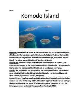 Komodo Island - Informational Article Facts History Animals Questions Vocab