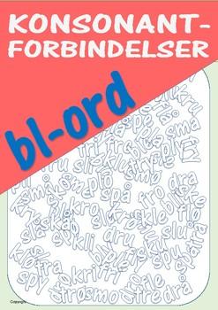 Konsonantforbindelser: Øvingsark med bl-ord