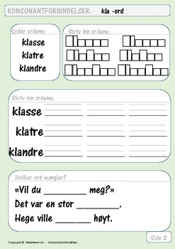 Konsonantforbindelser: Øvingsark med kl-ord.