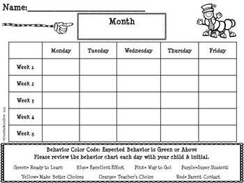 Kooky Caterpillars Behavior Clip Chart