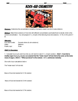 Kool Aid Chemistry Lab (molarity and dilutions lab)