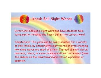 Koosh Ball Sight Words!