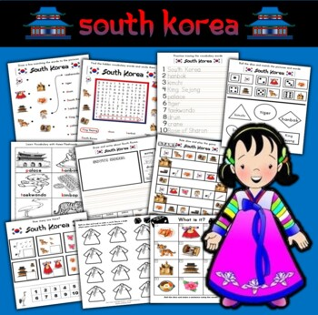 Korea Themed Activity Set / Worksheet Packet + Flashcards