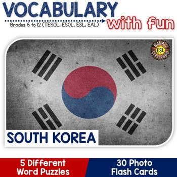 South Korea - Country Symbols: 5 Different Word puzzles and 30 Photo Flash Cards