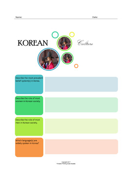 Korean Culture:  A Fillable Fact-Finding Sheet