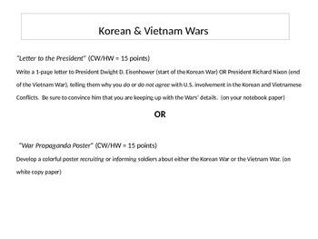 Korean & Vietnam Wars Writing Assignment
