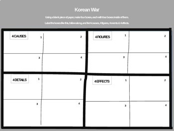 Korean War - 4 causes, 4 figures, 4 events, 4 effects (20-slide PPT)