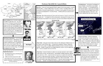Korean War Graphic Organizer 11 x 17!  With Questions & Quiz