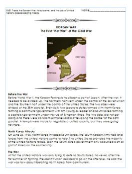 Korean War Informational Reading Passage
